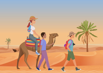 Vector illustration of man walking with guide and woman riding camel in desert.