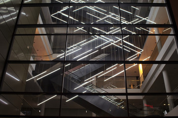 Night view of a light installation in modern architecture in Frankfurt.