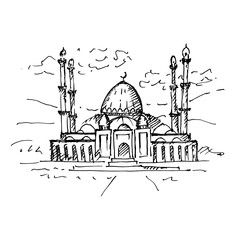 Mosque. Hand drawn illustration, sketch. Vector.