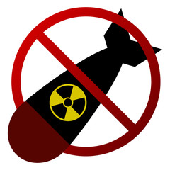 Atomic Bomb Forbidden Sign Vector Isolated - Nuclear Threat, Anti War