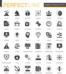 Black classic Human productivity web icons set.