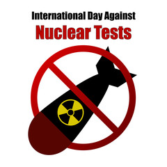 Nuclear Tests Forbidden Sign Illustration - Nuclear Threat, Anti War, Mililtary