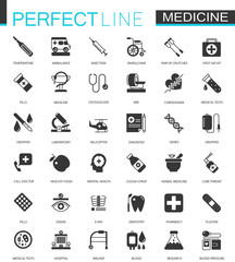 Black classic Medical and healthcare web icons set.