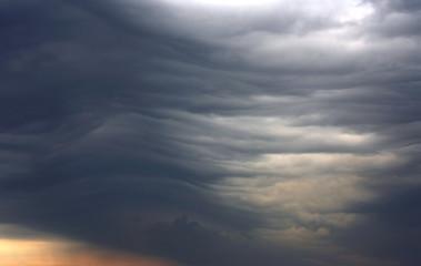 unusual dark gray stratus clouds