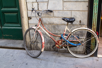 Bicycle on the street in Pisa, Italy