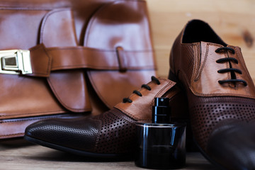 male leather executive shoes with handbag