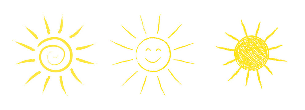 Collection of hand drawn sun icons. Vector.
