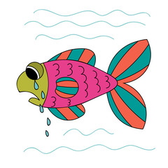 Crying cartoon fish. Sad hand drawn green, pink, orange fish isolated on white background. Vector illustration.