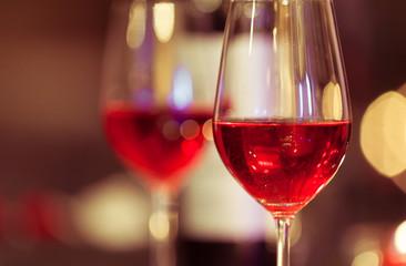 Closeup of wine glass in a restaurant.