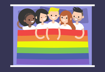 LGBTQ group of people covered with rainbow flag. Free love / flat editable vector illustration, clip art