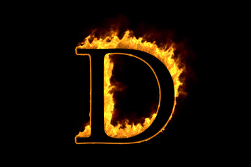 Fire letter D isolated on black background, 3d illustration