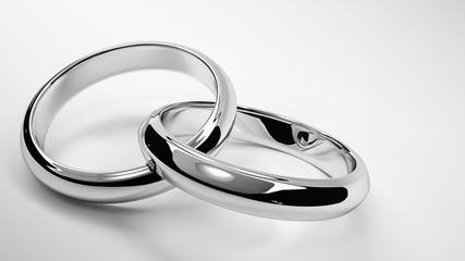 3d render of silver interlaced wedding rings