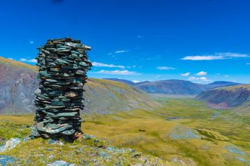 Steinmännchen Wegzeichen im Altai Gebirge Mongolei