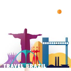 Travel Brazil paper cut world monuments