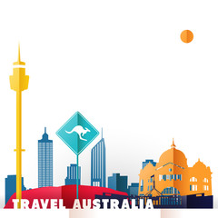 Travel Australia paper cut world monuments
