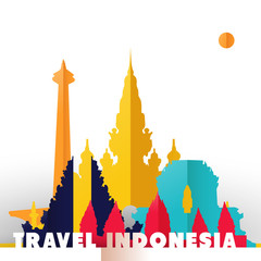 Travel Indonesia paper cut world monuments
