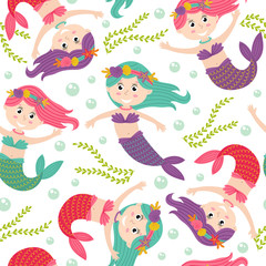 seamless pattern with mermaid  -  vector illustration, eps