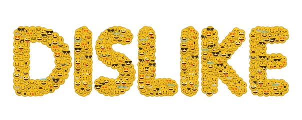 The word dislike written in social media emoji smiley characters