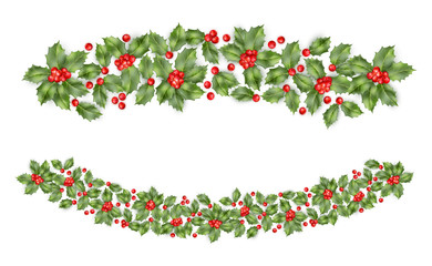 Christmas holly branch border. EPS 10 vector