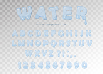 Water font design. Transparent glossy ABC letters and numbers. Vector.