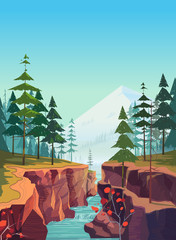 Canyon vector background, natural landscape graphics for your design.