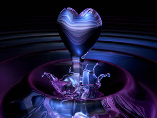 crystal 3d clear heart soaring upwards water. Valentine 3D Illustration Design Series.