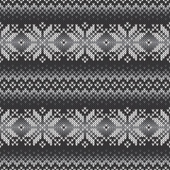 Fair Isle Traditional Knitted Pattern. Seamless Knitting Texture with Shades of Gray Colors