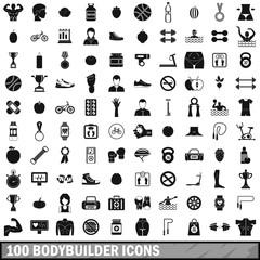 100 bodybuilder icons set, simple style
