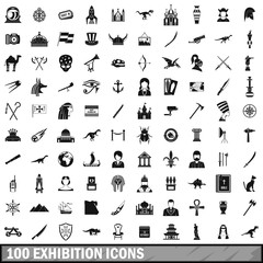 100 exhibition icons set, simple style