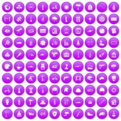 100 helmet icons set purple
