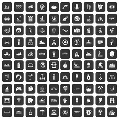 100 summer vacation icons set black