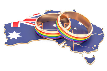 Australian map with LGBT rainbow rings, 3D rendering
