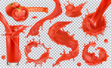 Photo sur Plexiglas Forme Red paint splash. Tomato, Strawberries. 3d realistic vector icon set