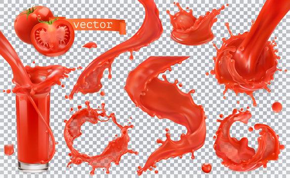 Red paint splash. Tomato, Strawberries. 3d realistic vector icon set
