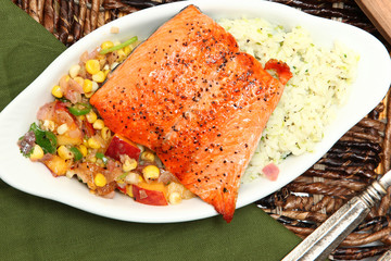 Salmon with Salsa and Rice