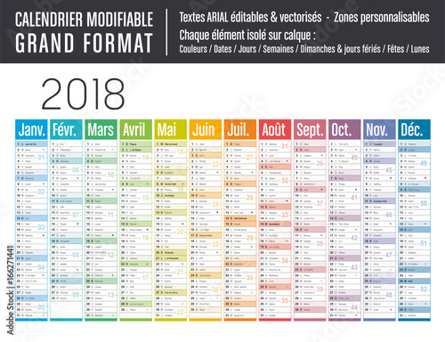 Calendrier 2018 modifiable grand format stock image for Grand calendrier mural 2017