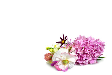 Mothers day background with flowers isolated on white