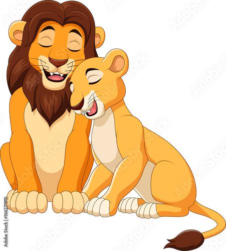 Cartoon lion couple