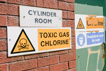Signs warning of the presence of Chlorine gas at a water treatment plant