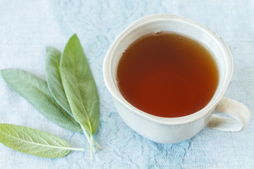 Sage tea. Top view.