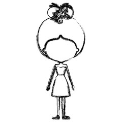 monochrome blurred silhouette caricature of skinny faceless woman in dress with bun collected hairstyle and flower crown accesory
