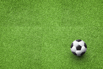 Soccer ball on the lawn top view