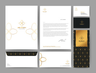 Branding identity template corporate company design, Set for business hotel, resort, spa, luxury premium logo, vector illustration