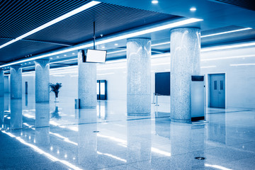 modern building hallway with marbled floor,blue toned,china.