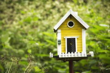 Yellow birdhouse in a garden