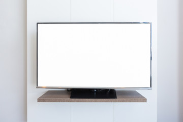 TV television screen blank on white wall background. with clipping path