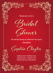 Bridal Shower invitation in retro style with decorative design elements. Vector illustration