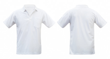 White T-shirts front and back isolated white background. with clipping path
