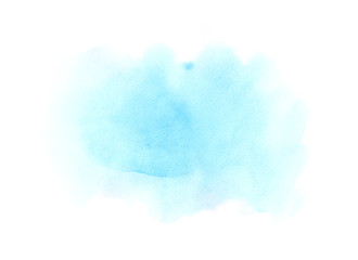 Soft blue watercolor stain on a white background
