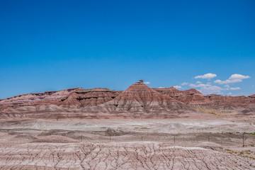 Desert lifeless landscape of Arizona and the blue sky